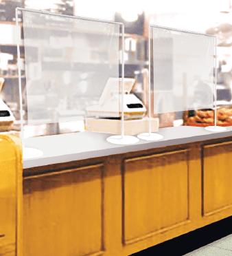 透明パーテーションレジ横設置例