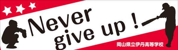 英語を使った横断幕_Never give up!
