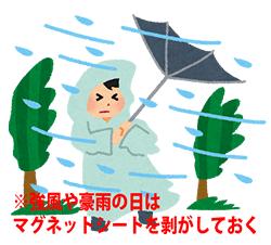 強風や豪雨の日は、マグネットシートを剥がしておく